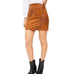 NWT Free People Rumi Ruched Skirt Camel